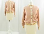 Gudrun Sjoden Pastel Sorbet Cardigan - Vintage 1980s Orange + Pink Jacqard Sweater in Medium Large