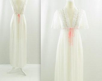 Soft Embrace Peignoir Lingerie Set - Vintage 1960s White Chiffon Honeymoon Nightgown & Robe in Small Medium by Dream Away