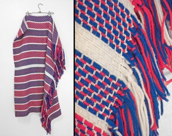 1970s Woven Throw Blanket Yarn Red White + Blue Patriotic 64 x 47 Inches