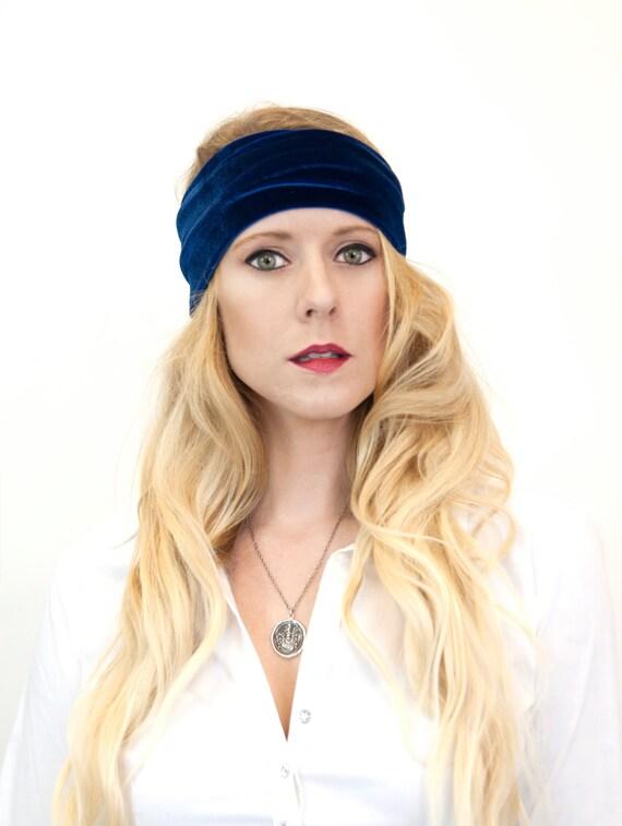 Wide Headband, Stretch Headband, Velvet Headband, Ear Warmer Royal Blue Adult Head Bands, Gift for Her Workout Headwrap Winter HeadBand