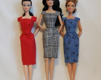 Barbie Clothes Tailor Made by Tunafairy- Classic Sheath in a Choice of Prints for Barbie, FR, or Similar Doll