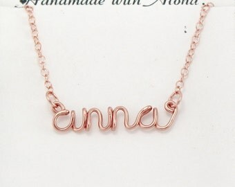 Wire Name Necklace, Custom Made Wire Lowercase Script Letter Necklace, Personalized Wire Wrap Name Jewelry