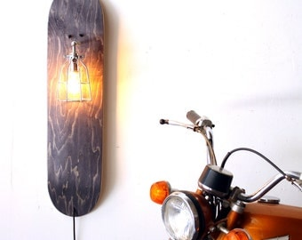 Skate Sconce- Repurposed Skateboard Lamp- Grey Wood Sconce- Industrial Cage Light- Upcycled Wall Lamp- Skateboard Decor Light- FREE SHIPPING