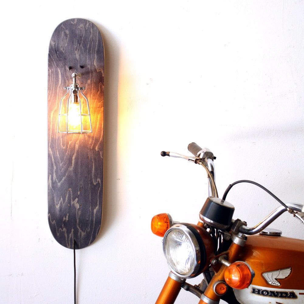 Skateboard Lamp repurposed skateboard lamp skate sconce grey wood sconce