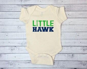 Seahawks Baby One piece, Little Hawk, Football One Piece, Baby Football Bodysuit, Seahawks Baby, Football Baby