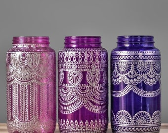 Painted Mason Jar Vase, Moroccan Home Decor, Tabletop Decor, with Silver Metal Accents, Your Choice of Henna Design and Glass Color