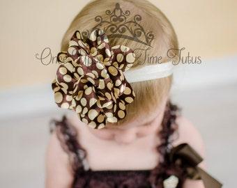 Brown Ivory Polka Dot Fabric Flower Puff Headband - Newborn Baby Hairbow Poof - Little Girls Hair Bow - Fall Autumn Harvest Thanksgiving Bow