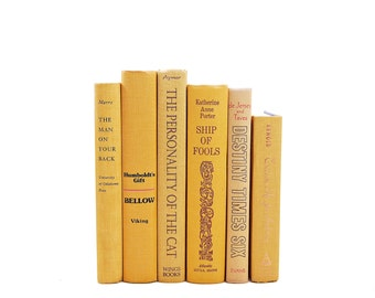 Sunglow Yellow Decorative Books, Old Book Set, Book Bundle, Instant Library, Book Collection, Vintage Book Stack BOokshelf Decor, Book Decor