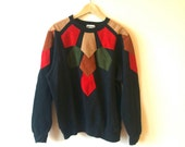 Geometric Black Sweatshirt Suede Shapes Appliqué Bright Womens XL