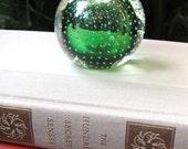 SALE Murano Bubble Paperweight, Bullicante Glass, Emerald Green,  Vintage Italian Glass, Mid Century, Circa 1950, Handmade, Mouth