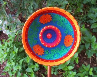 Repurposed Glass Garden Sculpture, Hand painted Red, Blue, Orange Garden Flower, Outdoor Decoration - Garden Art - Glass Plate Flower