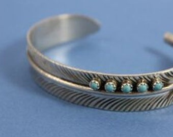 Native American Navajo HandMade Sterling Silver Turquoise Feather Cuff Bracelet