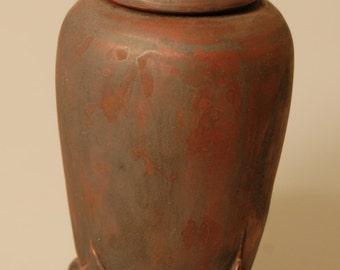 Urn Handcrafted Keepsake Stoneware Four Corners KH1350 Baby Cremation Ashes Child Infant Pet Artistic Carved Ceramic