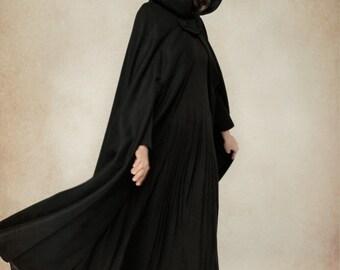 flare wool coat jacket, black hooded cloak, winter cape, black cape, black cloak, maxi coat, long wool coat, hooded wool coat