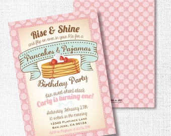 Pancakes And Pajamas Birthday Party Invitation, Printable, Rise and Shine Invite, 1st, First, 2nd, Breakfast Birthday, PJ Birthday,Girl
