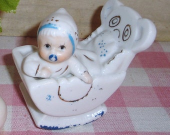 Unique Vintage Baby Figurine in Teddy Bear Rocker - Porcelain - Collectibles - Nursery - Shabby Chic - Nursery Decor - Vintage Nursery