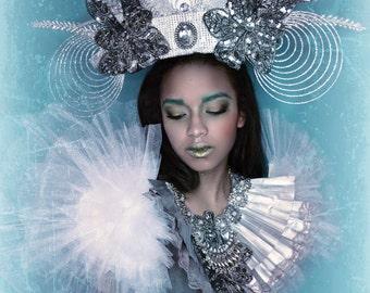 Ornate Silver Spiral Jewel Tiara  headpiece headdress crown hat accessory fashion