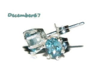London Blue Topaz Earrings, Sterling Silver, December Birthstone