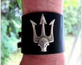 Trident Black Leather Cuff,  Percy Jackson, Choose Buckles or Leather Tie