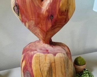 Carved Heart Red Cedar Heart Wedding home decor