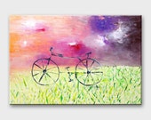 Bike painting on canvas Bicycle wall art Bike canvas Bicycle art Bike art Original paintings bicycles Cycling art bike Bicycle canvas art