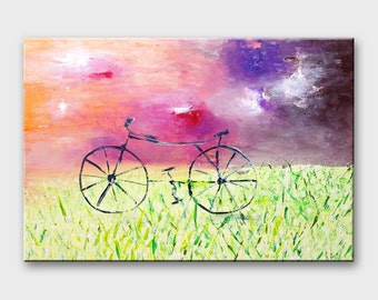 Bike painting on canvas Bicycle wall art Bike canvas Bicycle art Bike art Original paintings bicycles Cycling art bike Bicycle canvas art