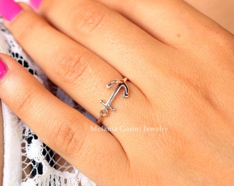 ANCHOR Ring - 925 Sterling silver stackable ring-stacking ring with anchor shape