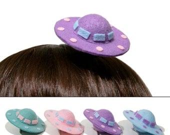 Sci-Fi Kawaii Mini Pastel UFO Space Ship Hair Clips