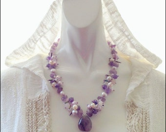 Romantic and Pretty Brazilian Natural Raw Amethyst Necklace,Semi-Precious Amethyst Necklace,February Birthstone,Fresh Water Pearl,Crystal