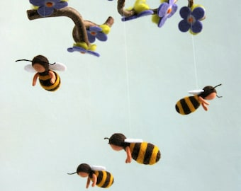 Bees mobile - Waldorf inspired, needle felted, by Naturechild
