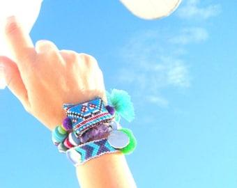 Unique Yoga Bracelets. Blue & Light Blue Handwoven Aztec style Friendship Bracelet and 2 OOAK Beaded Bracelet. Set of 3