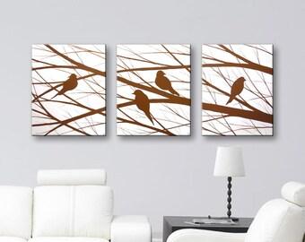 Art Painting Love Birds Paintings Canvas Art Bird Silhouette Wall Art Home Decor Wall Decor Modern Art 48x20 Original Painting HAND PAINTED