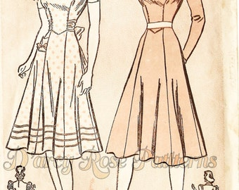 Advance 2433 Misses' Vintage 1940s Charming Afternoon Dress Sewing Pattern