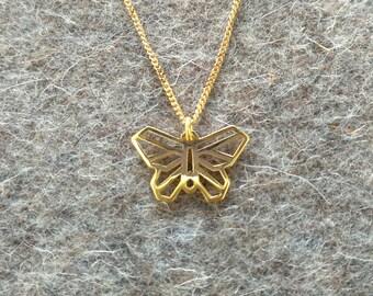 Wild Butterfly geometric pendant, gold