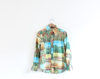 Flower Fields 70s Patchwork Print Button Down Blouse