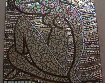 """Custom modern nude or other simple figurative mosaic, interior mosaic, glass on cement board or wood base, 24"""" x 18"""", Matisse inspired"""
