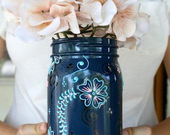 Boho Chic Mason Jar Vase, Fairy Light Jar, Hand Painted, Hostess gift, Lantern for your patio, Gift for her