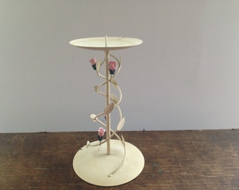 Shabby white metal candle holder with pink roses Roses candle holder Botanical Garden Home decor