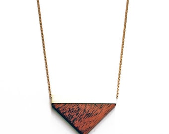 Brass and wood  triangle necklace, wood and brass necklace, red triangle necklace, minimalist valentines day birthday gift for her