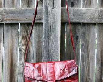 Vintage Red Eel Skin Leather Purse with Removable Strap