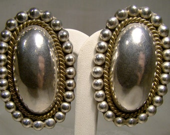 MEXICAN STERLING Silver Oval EARRINGS 1980s Clip On Beaded