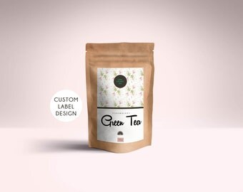 Custom tea packaging, Personalized tea bag label, Custom tea packaging, Printable tea packaging, Digital tea packaging, Custom stickers logo
