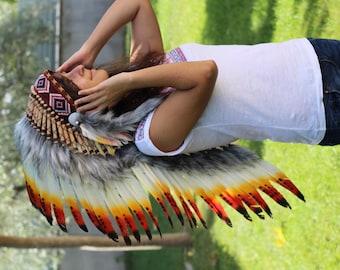 READY FOR HALLOWEEN . Y01 Medium Three colors  Feather Headdress   ( 36 inch long ).