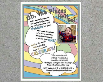 Dr. Seuss Oh The Places You'll Go Party Personalized Invitation Customizable Cards Baby Shower Invitation