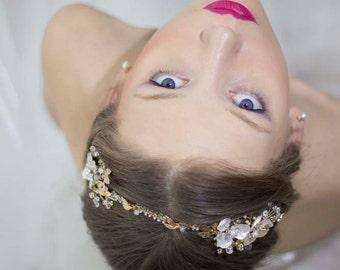 Wedding Flower Headband,Wedding Gold Headband,Wedding Gold Crown,Wedding Gold Tiara,Wedding Headband Gold,Wedding Hair Accessory Gold
