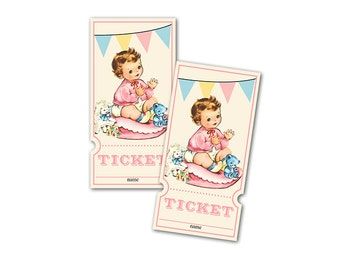 Digital Vintage Baby Shower Raffle Tickets for Girls / retro baby girl with banner / perfect for diaper raffle / downloadable, printable