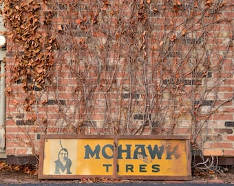 Vintage Mohawk Tires Sign, Large Gas And Oil Advertising, Gas Station Signs