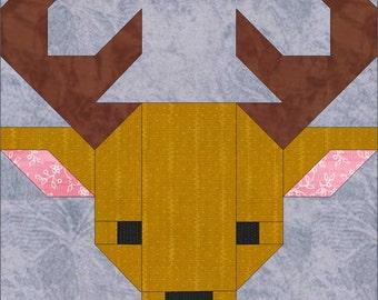 "Deer 8"" Quilt Block Pattern, PDF, Instant Download, modern patchwork, deer, reindeer, animal, cute, forest, woodland"