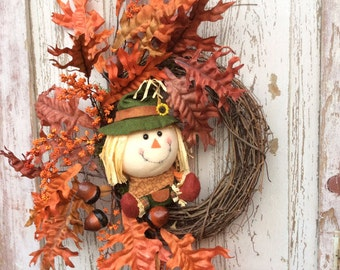 Scarecrow wreath,Fall Door wreath,Fall Scarecrow Wreath, Fall Scarecrow Door Hanger, Fall Wreath,  Fall wreath for door, Fall door wreath
