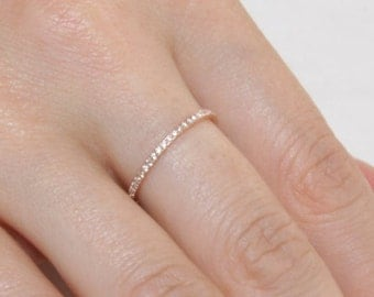18 k gold pave stacking band with diamonds / 750 rose gold and micro pave diamond band / stacking ring / 18k gold and diamond wedding band